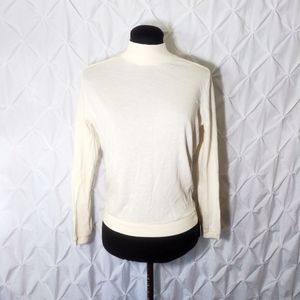 Cream long sleeve mock neck layering sweater